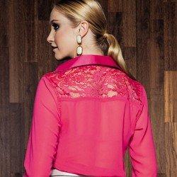 blusa feminina de renda pink karla detalhe