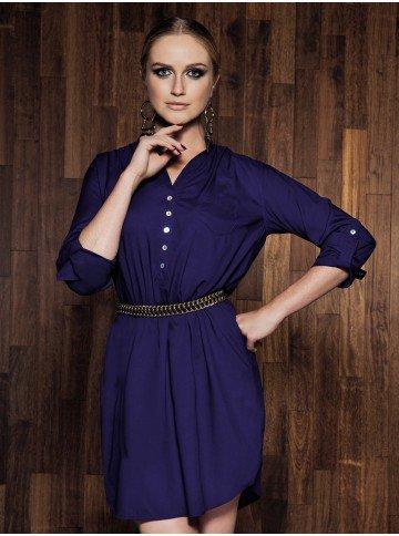 vestido azul chemise manga longa principessa ana maria corpo