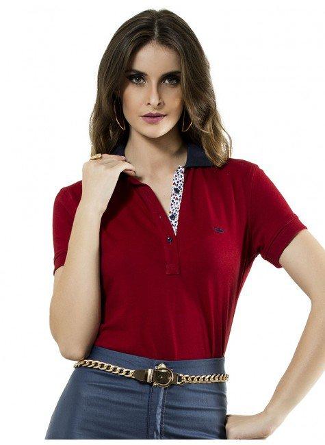 camisa polo vermelha feminina damiana