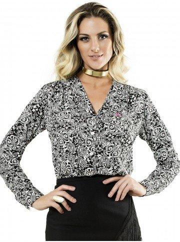 camisa feminina estampada manga longa elisabeth