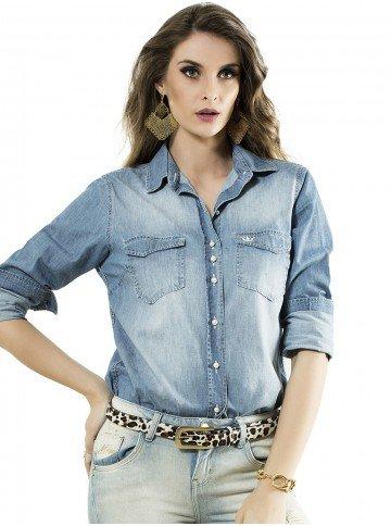 camisa jeans principessa mara manga longa