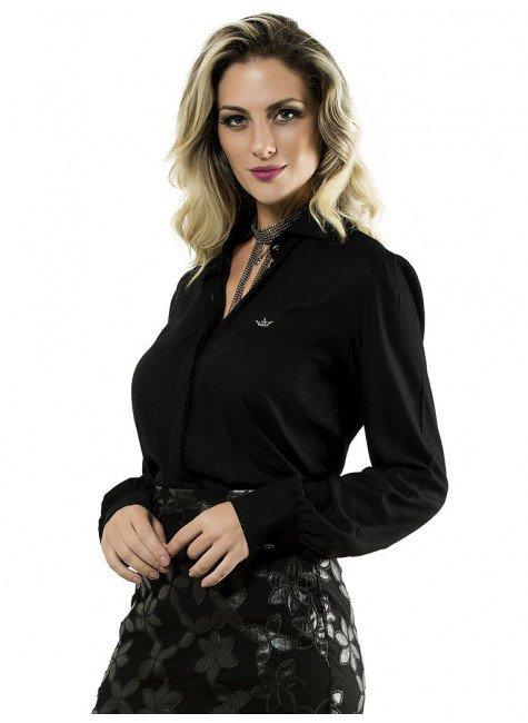 camisa preta feminina principessa jessie detalhes