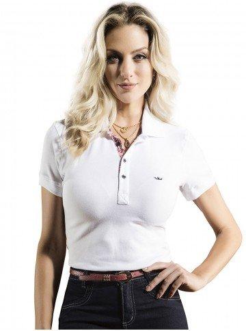 camisa polo branca feminina principessa shanda