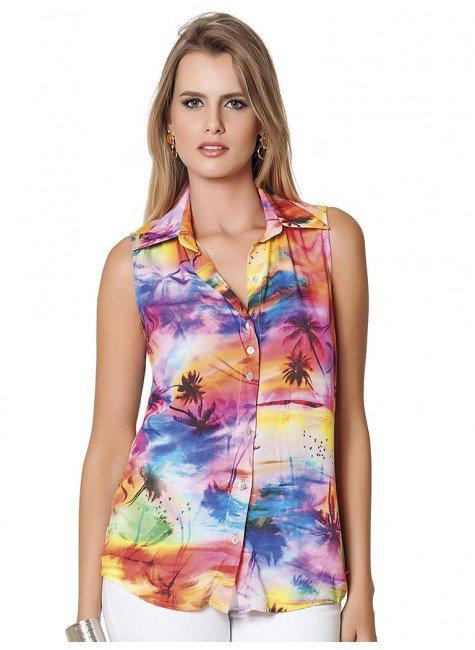 blusa feminina estampada tropical pricipessa poliana