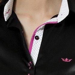 camisa feminina preta acetinado carin principessa