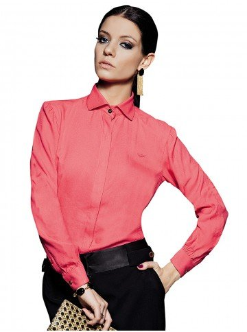 camisa social lisa coral greicielle