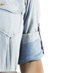 vestidio jeans claro manga longa principessa claire busto martingale