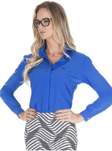 camisa social azul principessa suzan