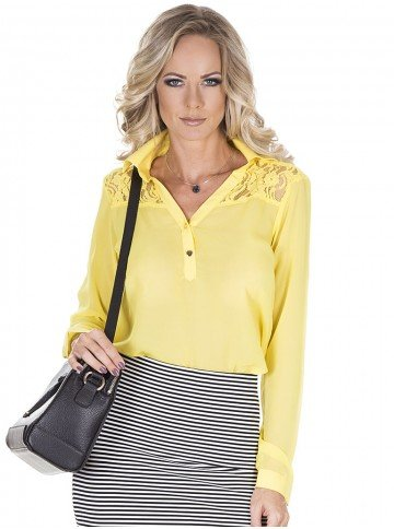camisa amarela social kalinka