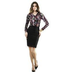 camisa floral estampada perta social principessa floriana look completo detalhe