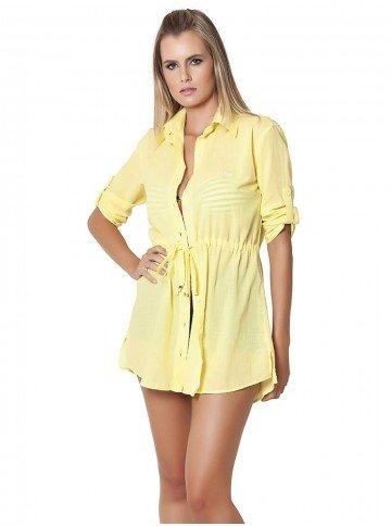 camisa amarela tipo saida de praia principessa jane