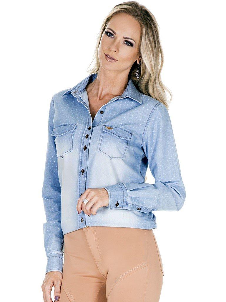 camisa jeans feminina azul principessa heloisa