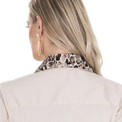 camisa feminina principessa helida animal print detalhe renda tendencia
