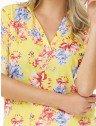 camisa feminina floral amarela principessa emanuelle