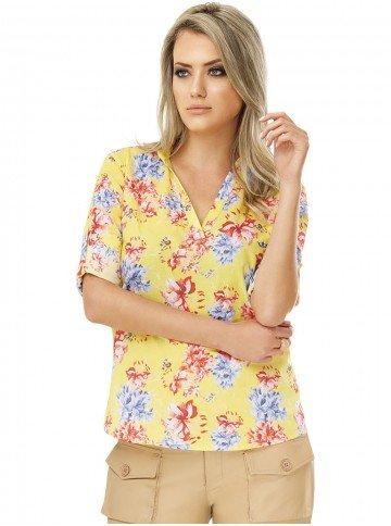 camisa feminina estampada floral principessa emanuelle