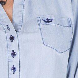 blusa jeans feminina principessa desiree detalhe bordado