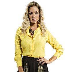 camisa feminina principessa amarela crepe social