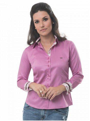 camisa social rosa antigo feminina principessa cassiana corpo