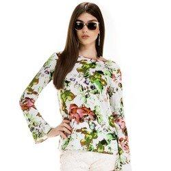 blusa estampada floral feminina principessa patricia detalhe look