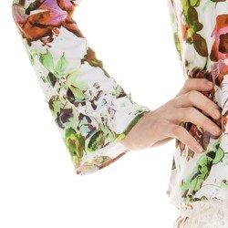 blusa estampada floral feminina principessa patricia detalhe manga