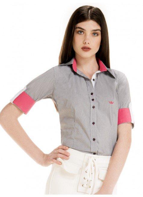 camisa manga curta social verao principessa rute listrada look