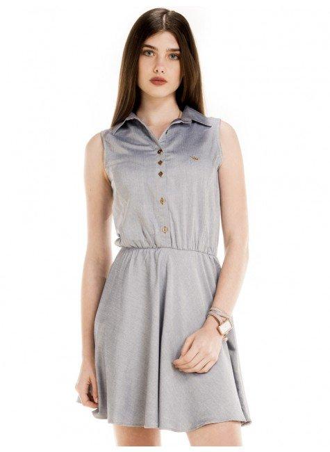 vestido jeans gode manga curta cinza principessa olivia look