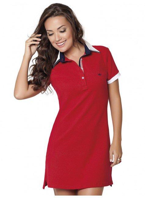 vestido polo vermelho lizete abertura look completo