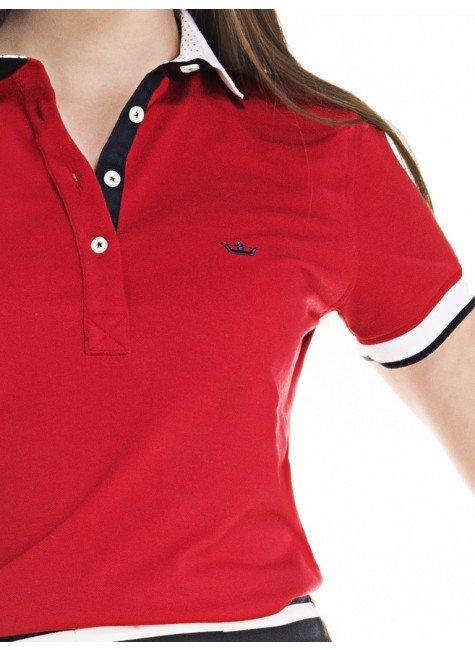... camisa polo feminina vermelha logo principessa 8baf840062271
