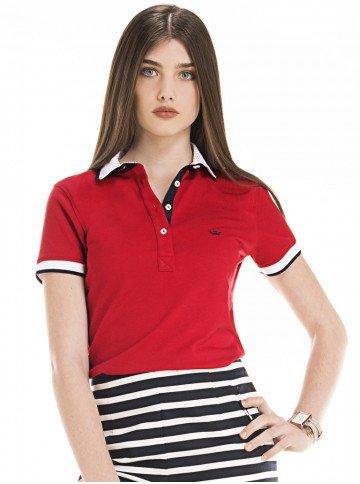 camisa polo feminina vermelha principessa look
