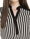 camisa listrada preto branco feminina elizete decote