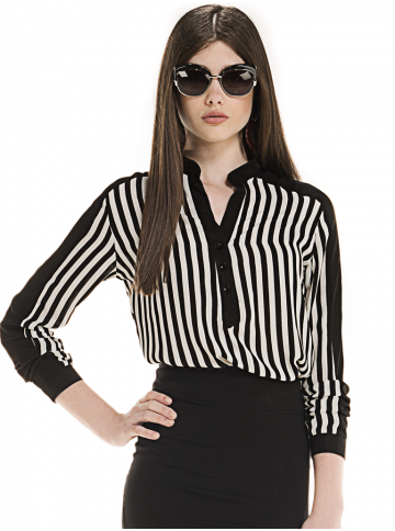camisa listrada preto branco feminina elizete look