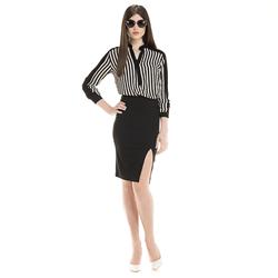 detalhe listras blusa feminina elizete look completo