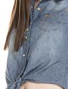 camisa jeans regata amarrar cintura feminina principessa iona botao