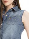 camisa jeans regata amarrar cintura feminina principessa iona logo