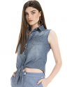 camisa jeans regata amarrar cintura feminina principessa iona look