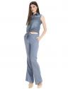 camisa jeans regata amarrar cintura feminina principessa iona look completo