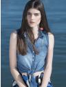 camisa jeans regata amarrar cintura feminina principessa iona look conceito opcao