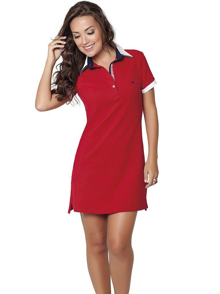 vestido polo vermelho principessa lizete