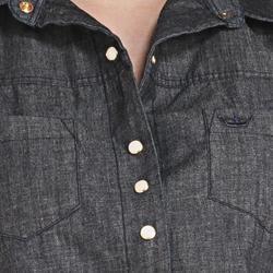 detalhe camisa regata jeans escuro feminina principessa cleyde botao perola