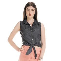 detalhe camisa regata jeans escuro feminina principessa cleyde look
