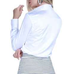 camisa social cetim branca feminina principessa aurea look completo modelage