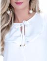 blusa off white com babado e amarracao feminina principessa joice busto