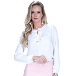 detalhe blusa off white com babado e amarracao feminina principessa joice look