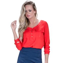 detalhe blusa laranja safira look