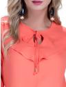 blusa feminina principessa juci detalhe babado e amarracao