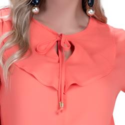 detalhe blusa feminina laranja com babado