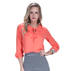 detalhe blusa feminina laranja com babado look