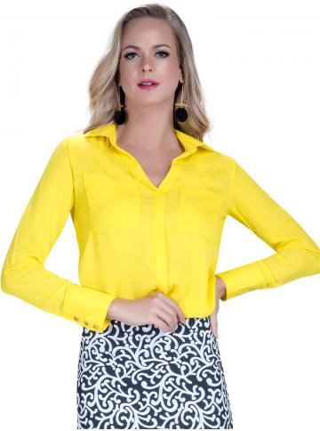 camisa amarela feminina social principessa katiuce look