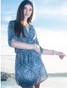 vestido estampado arabesco elastico cintura marinho leiliane conceito