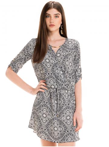 vestido estampado arabesco elastico cintura marinho leiliane look